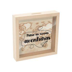 Mealheiro caixa madeira com vidro para as nossas aventuras mod.1