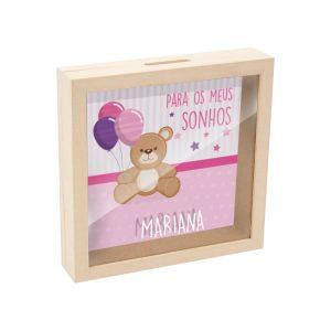 mealheiro caixa madeira com vidro para os meus sonhos mod.12