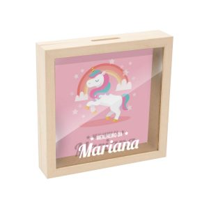 mealheiro caixa madeira com vidro unicornio mod.13