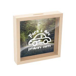 mealheiro caixa madeira com vidro para o meu primeiro carro mod.15