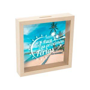 mealheiro caixa madeira com vidro para as próximas férias mod.20